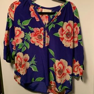 Yummi Kim Blue Blouse with Floral Design